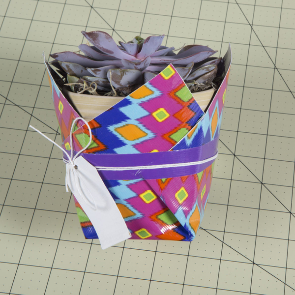 Tag made in the previous two steps wrapped around the pot and secured