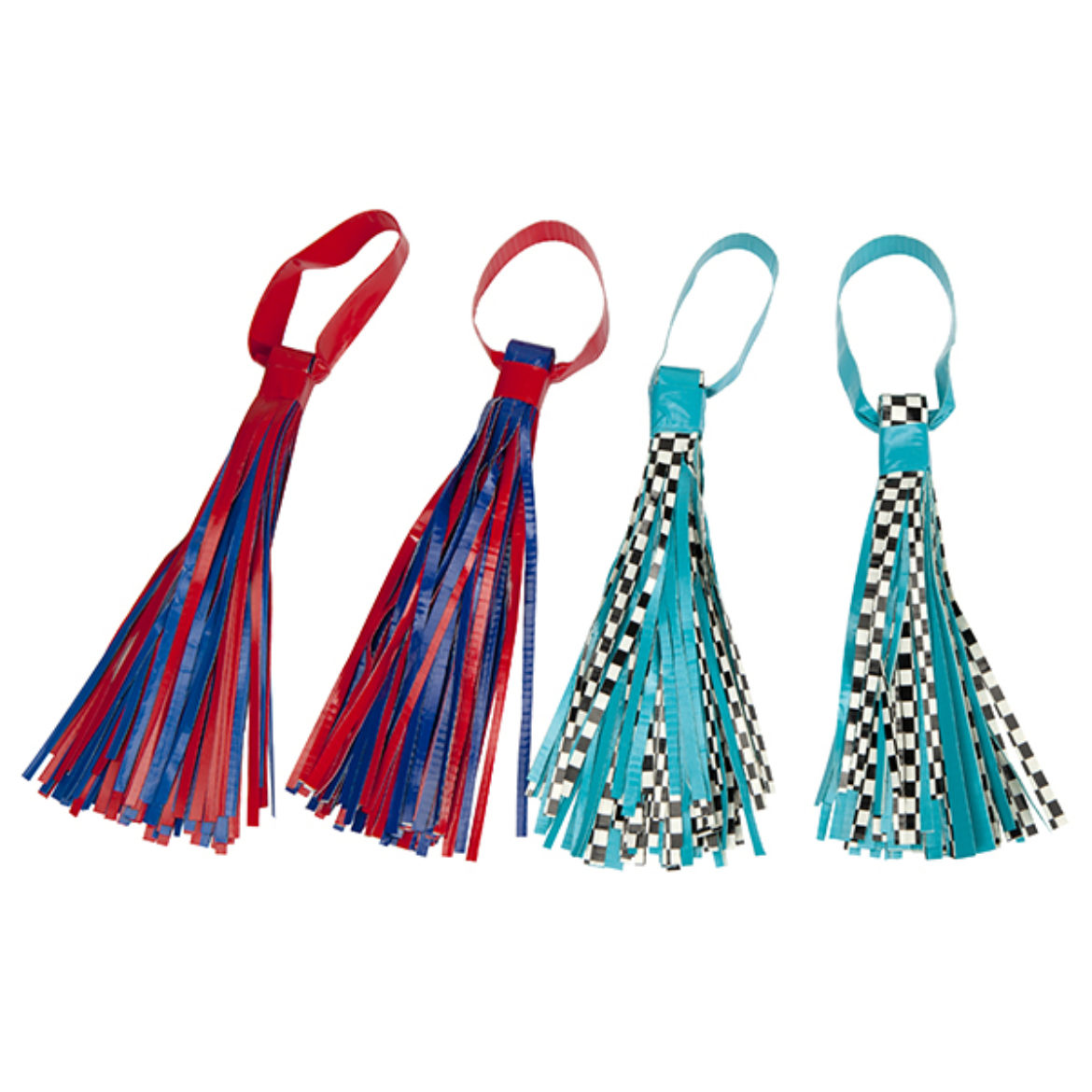 two matching pairs of Duck Tape Pom Poms using different colors of Duck Tape
