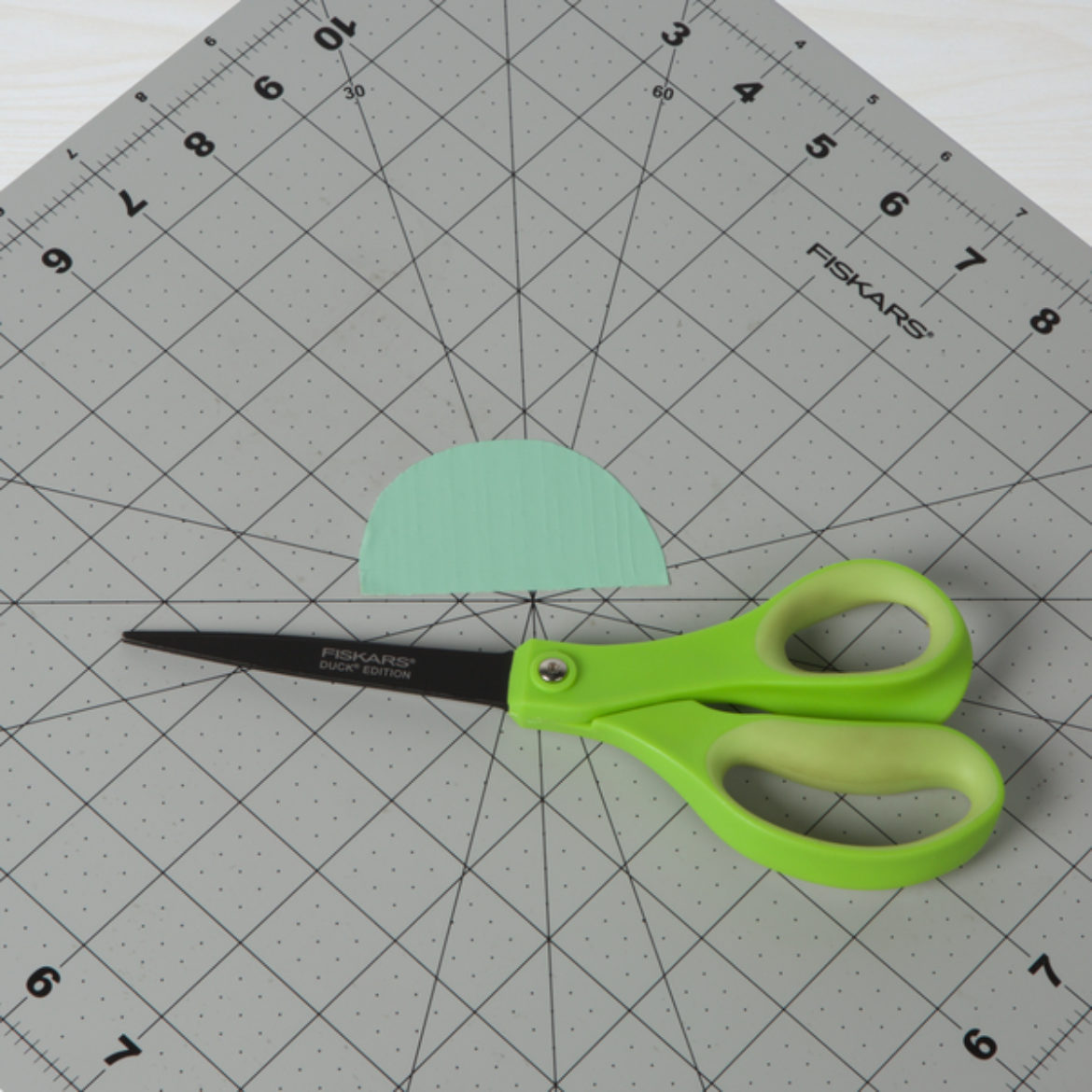 Half circle from previous step cut out.