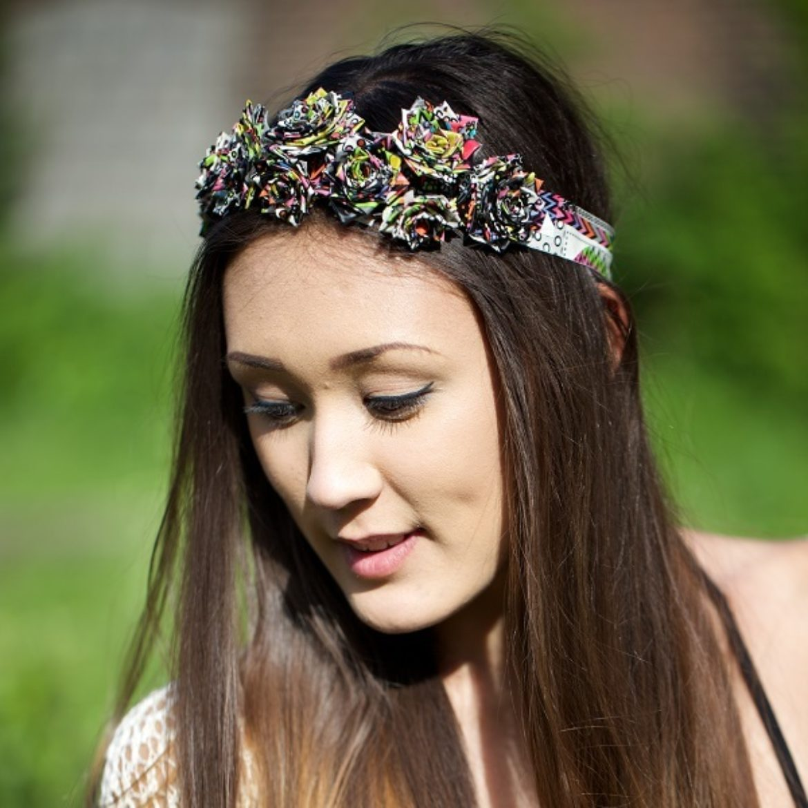 Woman wearing a completed Duck Tape Rose headband