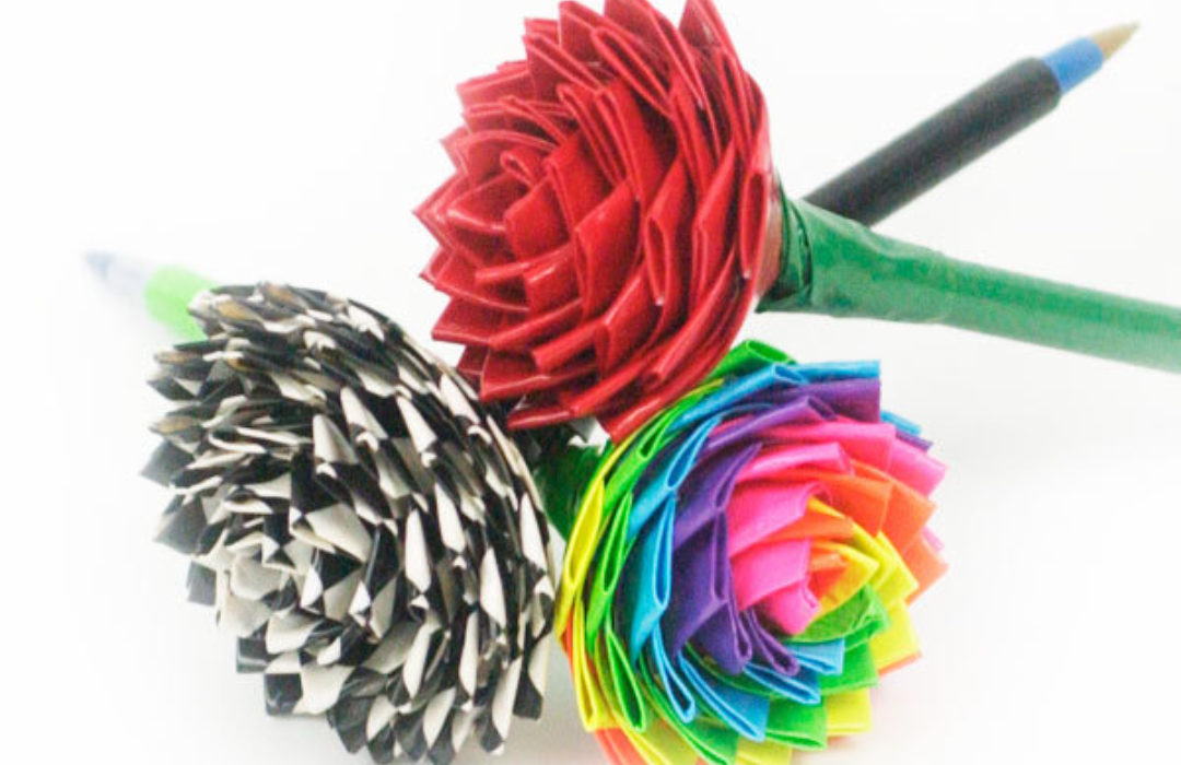 Completed Duck Tape® Rose Pens