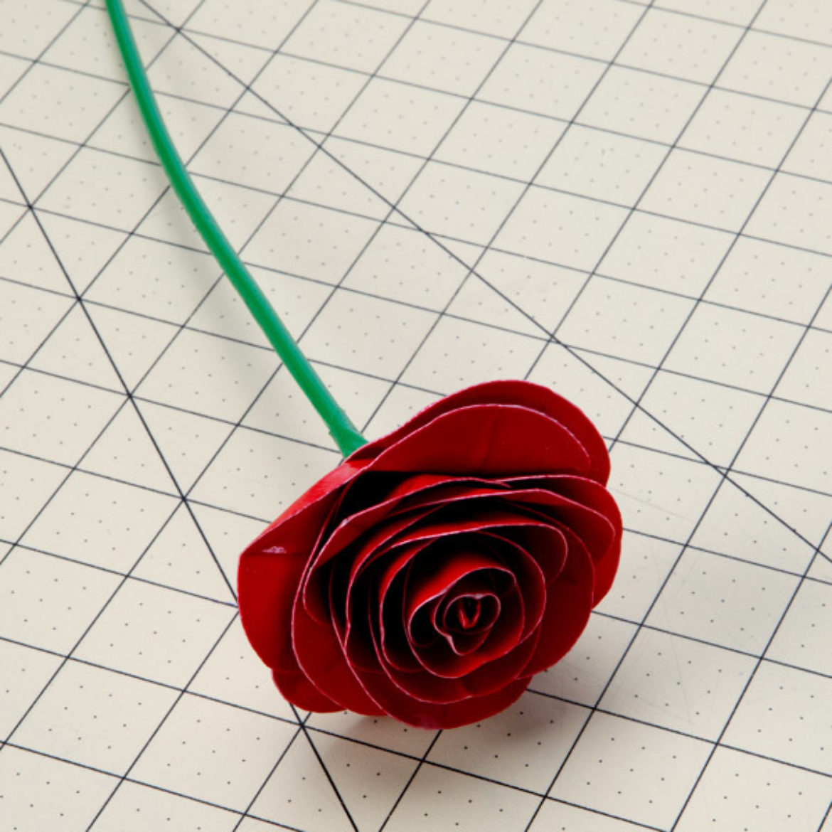 previous steps repeated until there are enough petals wrapped around each other to form a rose