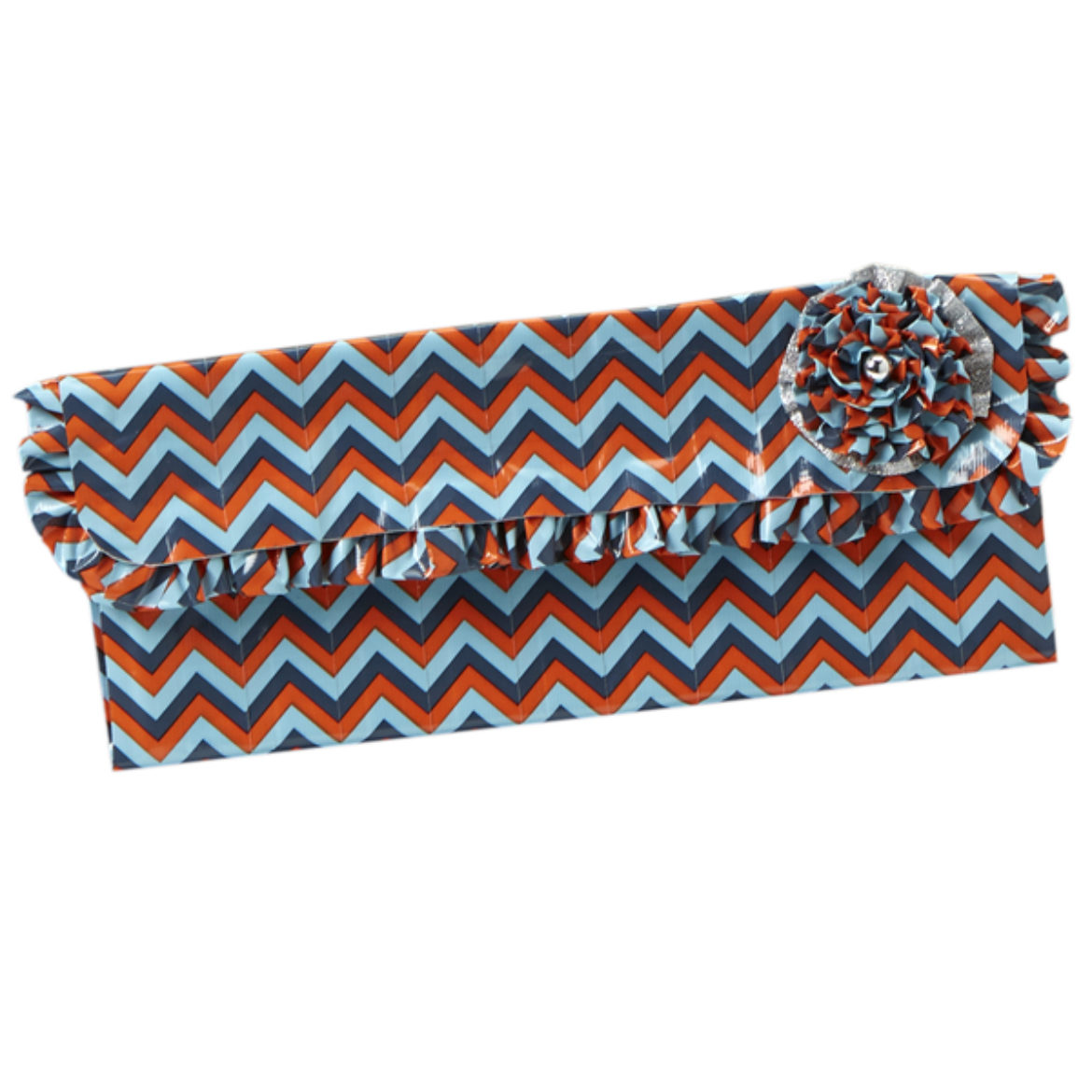 Completed Duck Tape Ruffled Clutch