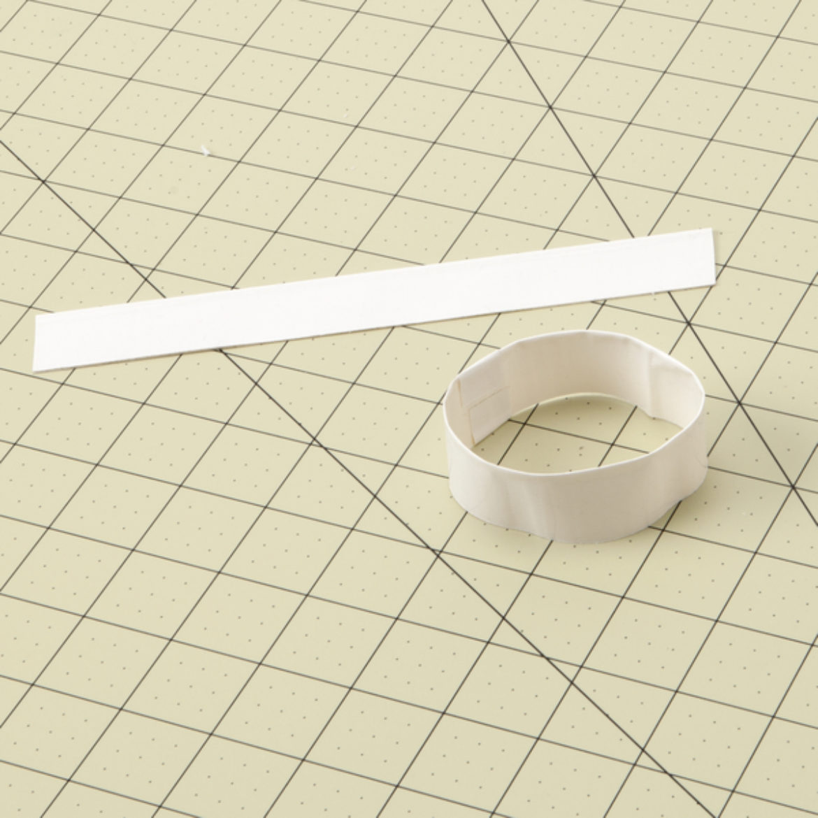 double sided strip made by folding a strip of Duck Tape lengthwise. Strip then formed into a loop and taped to form a loop