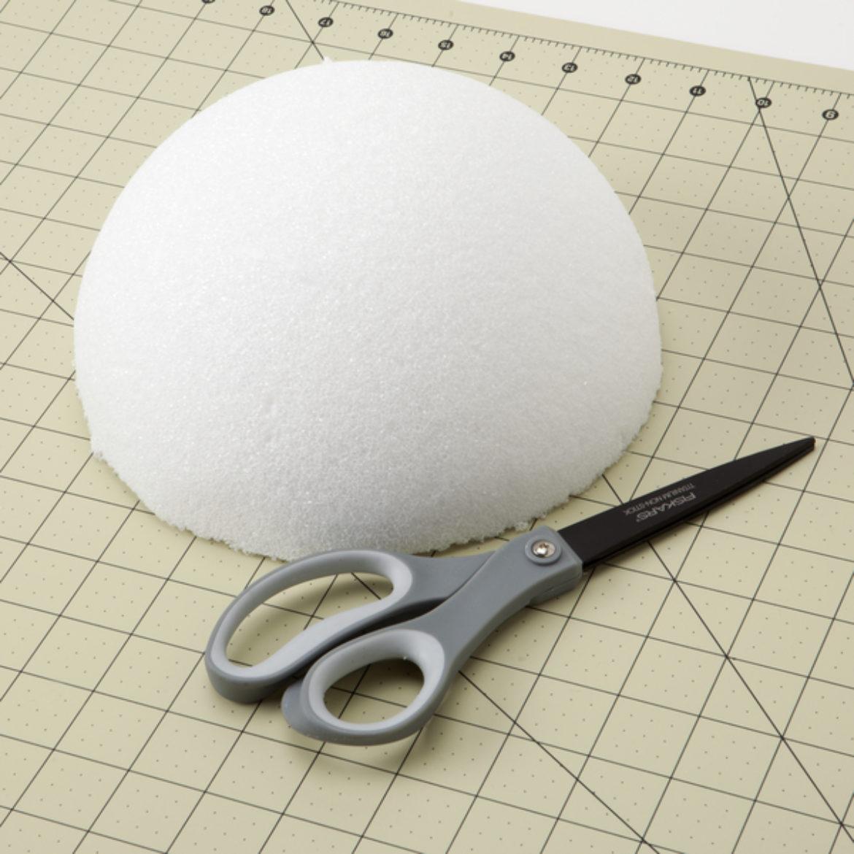 Cut foam ball in half to create a dome shape
