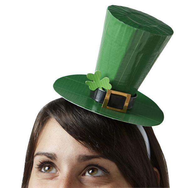Completed Duck Tape®St. Patrick's Day Top Hat on a woman's head