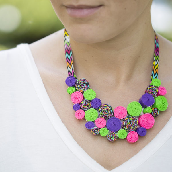 Woman wearing a completed Duck Tape® Swirl Necklace