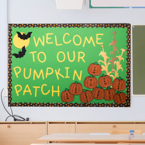 A bulletin board that says Welcome to our pumpkin patch.