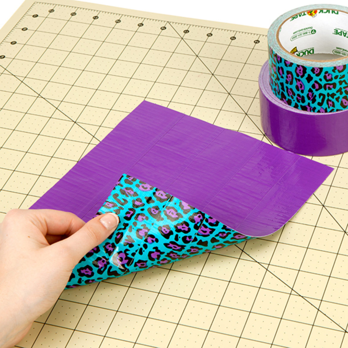 Duck Tape Fabric with one color on one side and another on the opposite