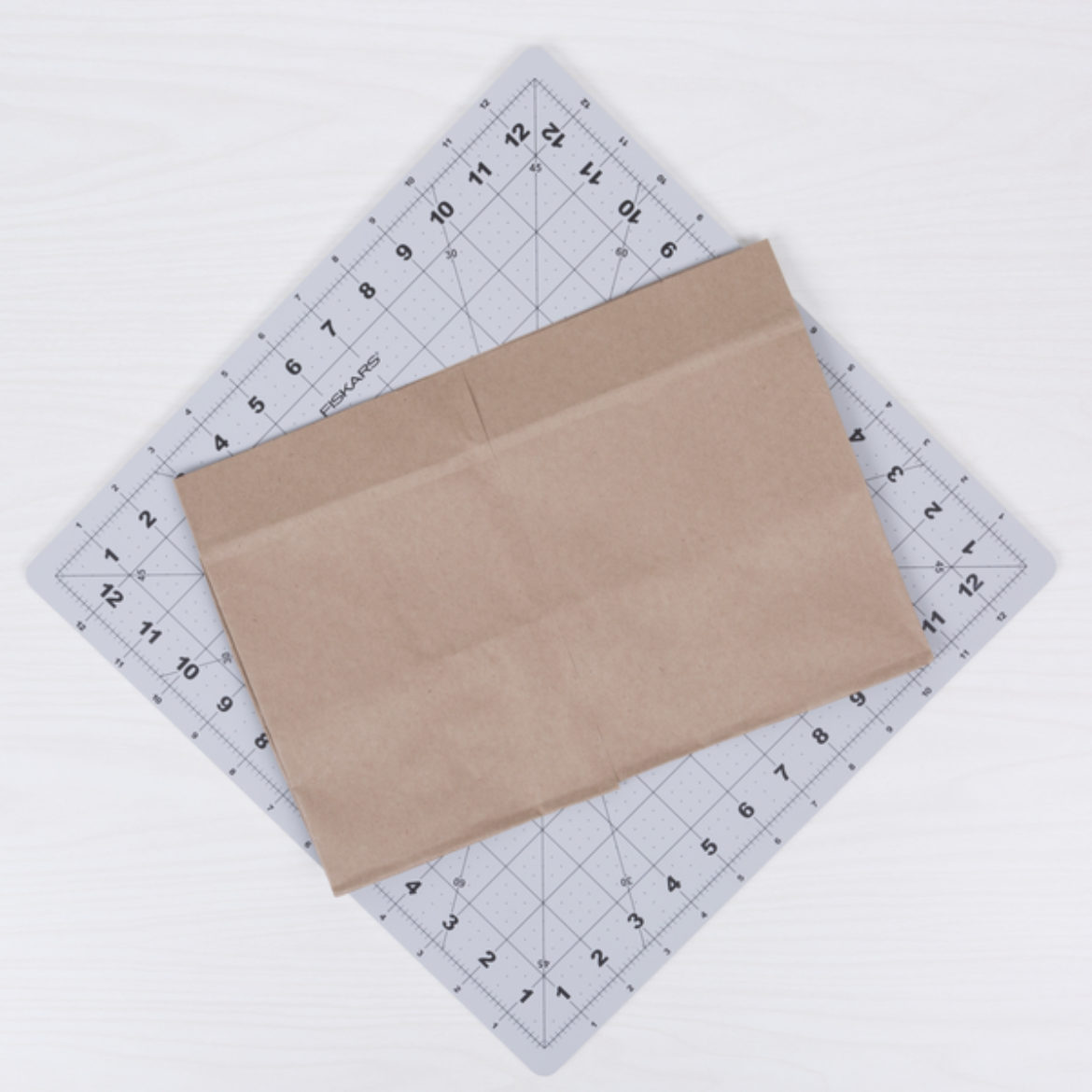 Paper bag with the top half cut off