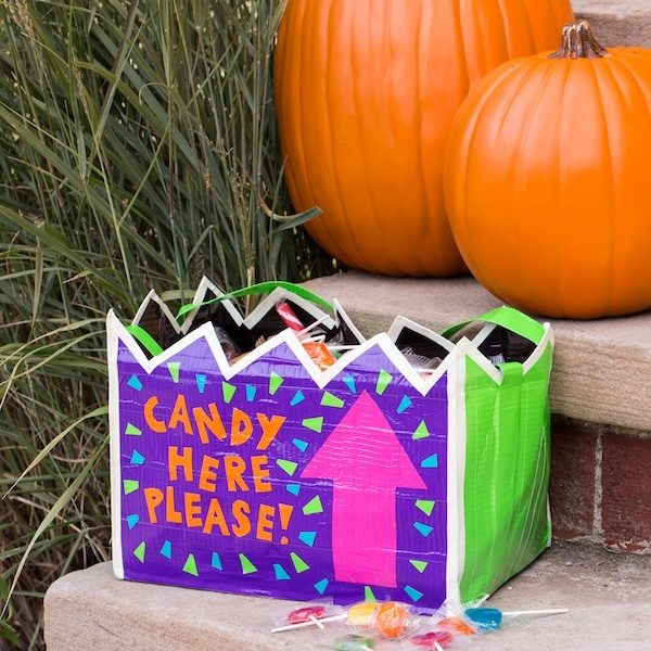 Completed Duck Tape® Trick or Treat Container full of candy