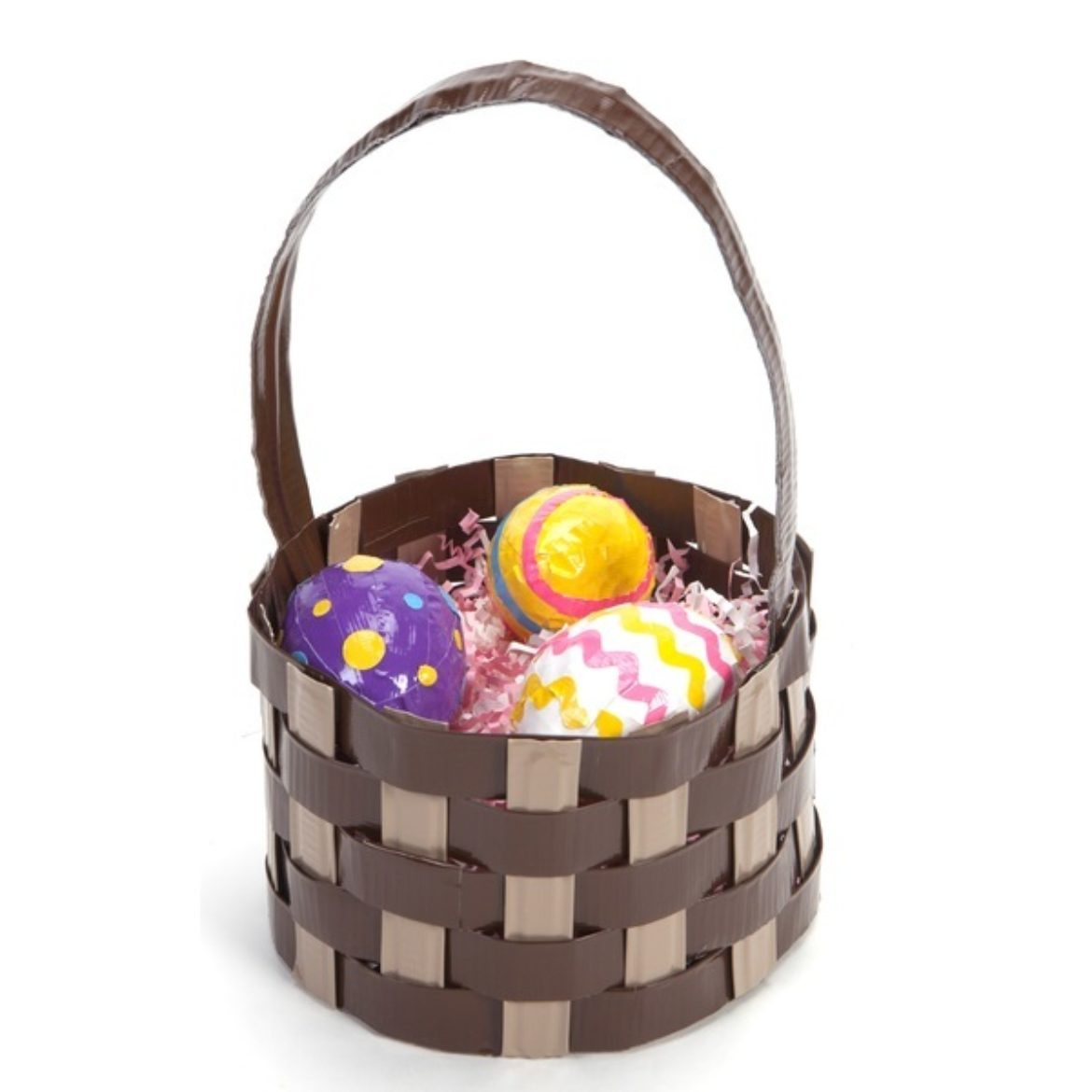 Completed Duck Tape® Woven Easter basket with Duck Tape Easter eggs