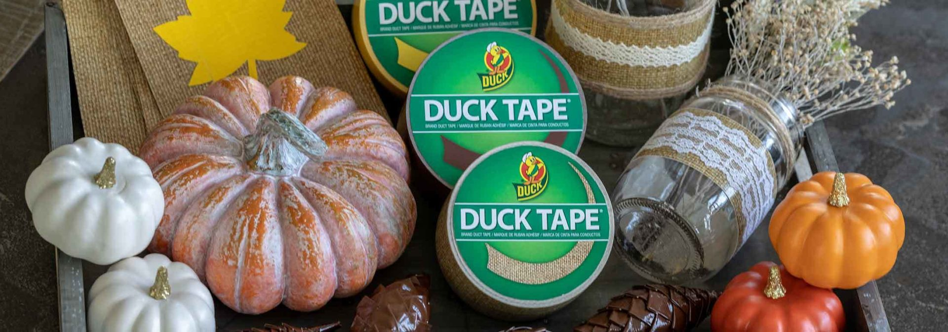 Thanksgiving crafts made using Duck Brand colored duct tape